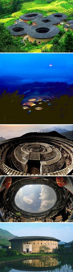 donut shaped buildings round with courtyard in center. Fujian, China - zzkko