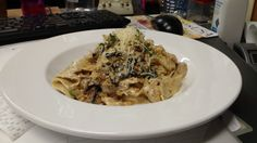Pappardelle Pasta. Dragon mushrooms and pappardelle noodles in an herb cream sauce.