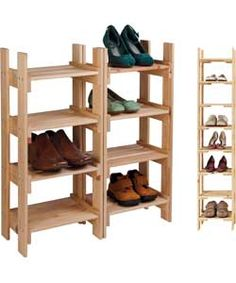 Solid Pine Tall Shoe And Boot Storage Rack