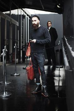 black sweater black beanie jeans boots all black fashion men tumblr beard hair style tumblr streetstyle