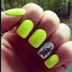 Fluro green nails