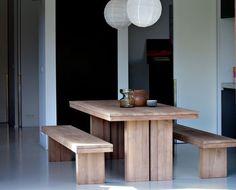 Mesa del comedor moderna de madera maciza  TECK DOUBLE