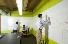 This is dry erasable white wall paint that allows #BigPictureStyle people to brainstorm all over the office walls! LOVE IT!