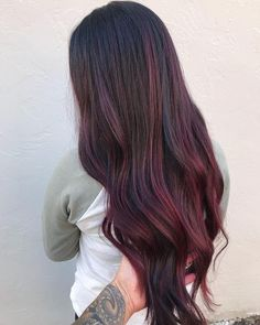 Ombre Hair Color, Hair Color Balayage, Hair Colors, Red Balayage Hair Burgundy, Burgundy Brown Hair, Pelo Color Vino, Wine Hair, Dark Hair With Highlights, Burgundy Highlights
