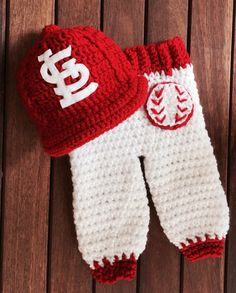 Newborn St Louis Cardinals baby cap and pants by AvaGirlDesigns