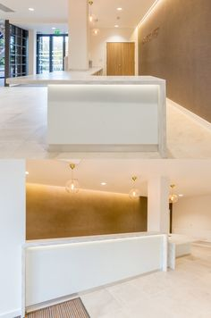 New reception desk with Corian counter, white glass front panels and integrated lighting. Find out more about this speculative office refurb for an investor client through the link. Reception Desk Design, Reception Counter, Office Reception, Custom Desk, New Carpet, Floor Finishes, Common Area, Commercial Interiors, Office Interiors