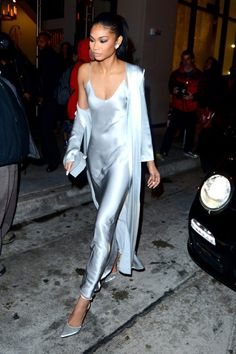 - Chanel Iman wearing The Perfext Sara slip dress and Emma silk duster.