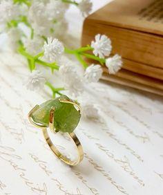 Raw Peridot Ring Peridot Birthstone Ring by gazellejewelry on Etsy