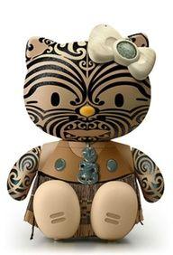 new zealand maori hello kitty! i dont like hello kitty, but i love the maori, so this is pretty sick! Hello Kitty Art, Here Kitty Kitty, Hello Kitty Characters, Maori Designs, Nz Art, Miss Kitty, Maori Art, Kiwiana, New Zealand