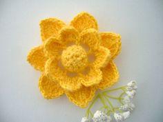 Hand Crochet  Mohair Cotton Corsage Brooch by CraftsbySigita on Etsy