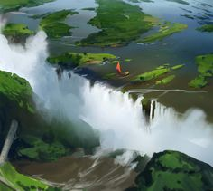 Love the spot of bright red amongst the blue and green. Use your imagination. Landscape Concept, Fantasy Landscape, Landscape Art, Fantasy Art, Environment Painting, Environment Concept Art, Environment Design, Landscape Drawings, Landscapes