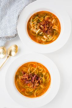 Bacon and White Bean Zucchini Noodle Soup -- The bacon delivers most of the flavor in this soup, but the zucchini noodles add a nice crunch, and the white beans add an extra protein and consistency. http://communitytable.parade.com/560450/felicialim/14-healthy-zoodle-soups-to-warm-you-up/#gallery_560450-9