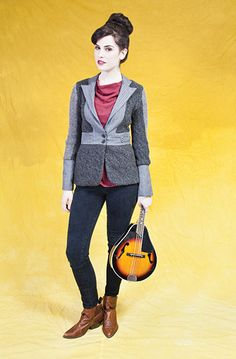 Paper People Clothing - Fall Winter 2013 - Maude Blazer - Upcycled - Reclaimed Vintage - Eco Fashion - One of a Kind - Grey - Mandolin - Sweater - Cardigan