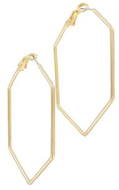 """Gold Plated Pierced Hoop Earrings Hexagon Geometric Large 2 1/4"""" Made In The Usa Ky & Co. $17.95. Made In The USA. Diameter: 2 1/4"""". Gold Plated Metal. Save 28% Off!"""