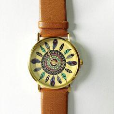Dream Catcher Watch Vintage Style Leather Watch Women by FreeForme, $10.00
