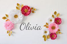 8 Paper Flowers/Wedding Decoration/ Arch Flowers/ Paper Flowers Wall Decor/ Bridal Shower/ Baby Shower/ Nursery Decoration/ Wall Flowers