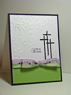 Easter card, three simple crosses, embossing, green & purple accents.  Courtesy of Joyful Creations with Kim: Friday Focus: Bows  (Jan'13)