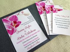 5 x 7 Pink Orchid Pocket Fold Invitation