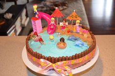 Lego Friends beach cake - do square with edges of bricks instead (choc not fondant), checkerboard rectangle cake inside, and use jelly like old style swimming pool cake Lego Friends Cake, Lego Friends Birthday, Lego Birthday Party, Birthday Cake Girls, Birthday Ideas, 8th Birthday, Birthday Cakes, Lego Torte, Lego Cake