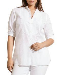 Lauren Ralph Lauren Plus Size Striped Bib Front  Button Down Shirt tuxedo sz  3x #RalphLauren #ButtonDownShirt #Eveningcasual