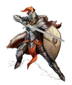 m Fighter Champion Plate Shield Helm Cape Sword midlvl Human Sword and Board Fighter - Pathfinder PFRPG DND D&D d20 fantasy