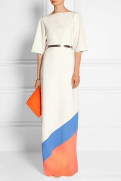Belted color-block crepe gown by Roksanda Modest Fashion, Hijab Fashion, Love Fashion, Fashion Design, Evening Outfits, Evening Gowns, Mode Pop, Roksanda, Looks Cool