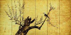 Plum tree and bird. Japanese Folding Screen by Jyakuchu Nakamura.