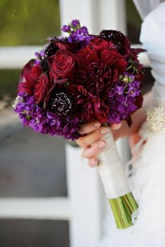 Trendy Ideas For Wedding Flowers Bouquet Red Jewel Tones Boquette Wedding, Purple Wedding Bouquets, Aqua Wedding, Purple Wedding Flowers, Wedding Colors, Dream Wedding, Burgundy Flowers, Bridesmaid Bouquet, Red Roses