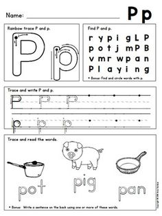Alphabet Writing Sheets to Teach Proper Formation and Rein Letter P Worksheets, Letter P Activities, Alphabet Worksheets, Writing Activities, Letter Tracing, Alphabet Writing Practice, Handwriting Alphabet, Learning Letters, Handwriting Sheets