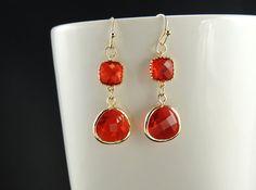 Romantic Red Earrings. Gold Earrings. by SimpleElegantJewelry, $22.00