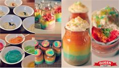 Rainbow cakes in jars process with logo
