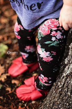 Pink Floral on Black Baby Leggings Leggin Trouser by SweetLucyJack
