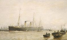 William Lionel Wyllie  - Teutonic leaving Liverpool 1889.