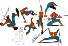 Spiderman is drawn with really apparent lines of action and they look great
