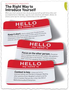 The Right Way to Introduce Yourself from Inc. Magazine #clippings