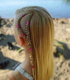 Side cornrows with hair cuffs By Braided Ponytail Hairstyles, Box Braids Hairstyles, Summer Hairstyles, Trendy Hairstyles, Girl Hairstyles, Hair Updo, Hairstyles 2016, Black Hairstyles, Side Cornrows
