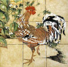 """Ito Jakuchu Rooster and Morning Glories"" Based on the art of mid-Edo period Japanese painter Ito Jakuchu. Custom designed decorative kitchen backsplash tile mural. Hand painted on 6 x 6 inch ceramic tile."
