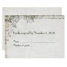 #vintage floral border RSVP Card - #wedding gifts #marriage love couples