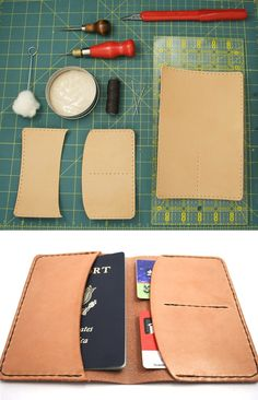 DIY: leather passport holder