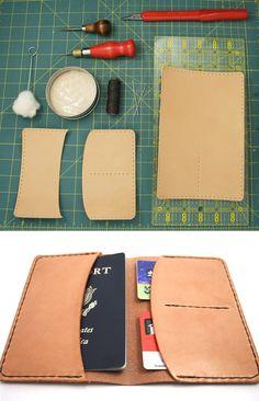 DIY: leather passport holder