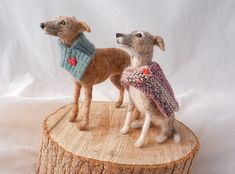needle felted whippets