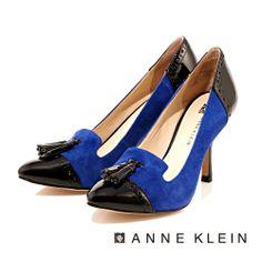 +AK Anne Klein 舒適實搭摩登有型 流蘇妝點異材質拼接高跟包鞋-黑藍撞色 - Yahoo!奇摩購物中心