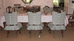 These beauties look like ladies dressed up for an afternoon tea on the lawn. Large picture hats and white gloves would complete the ensem. Fancy Dress, Dress Up, Custom Slipcovers, Brick Path, Dress Outfits, Dress Clothes, Shabby Chic, Table Decorations, Interior Design