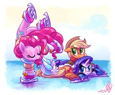 It's funny to look at But just take a closer look at what Pinkie is doing All concerns of anatomy aside (Equestria is different then our ponies) that still would be VERY difficult to balance on one hoof with your entire body weight nearly on top of you She's like doing a backbend in midair While on skates On ice Just Freakin skill Or is it Earth Pony magic? Whatever Pinkie is one of the best at Earth pony magic
