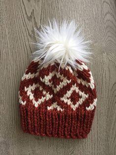 Knit Diamond Hat // Faux Fur Pom
