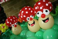 Balloon cartoon mushrooms