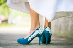 Wedding Shoes  Teal Blue Wedding Shoes/Bridal Shoes by walkinonair, $65.00. These shoes are just beautiful for the vintage yet not so traditional bride!