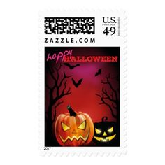 #Scary Haunted Bats Crows & Pumpkin Happy Halloween Postage - #Halloween happy halloween #festival #party #holiday