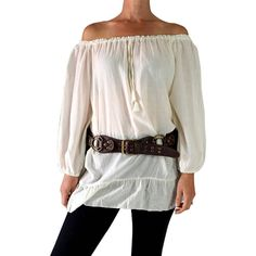 Classic Chemise Pirate Renaissance Festival Costume Peasant Blouse... ($33) ❤ liked on Polyvore featuring tops, blouses, silver, women's clothing, white shirt, long white blouse, white off the shoulder blouse, off the shoulder shirts and white pirate shirt