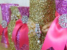 Fuschia Wedding Decorations Wedding Centerpieces by KPGDesigns Fuschia Wedding, Hot Pink Weddings, Pink And Gold Wedding, Gold Weddings, Bridal Shower Favors, Bridal Shower Decorations, Wedding Reception Decorations, Wedding Favors, Rain Wedding